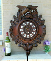 Antique Swiss Black forest wood carved Wall clock birds 19thc