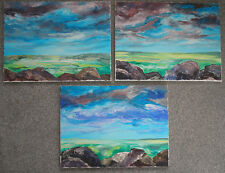 set of 3 original acrylic paintings on canvas listed by the artist