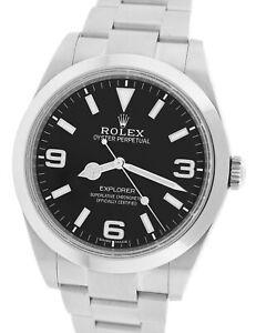 MINT Rolex Explorer I Black 39mm 214270 Stainless Steel Oyster Men's Watch