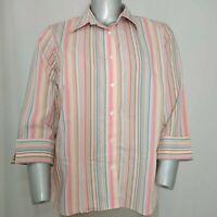 Lands' End Top 24W Women's Plus Pink Vertical Stripe Cotton 3/4 Button Collar