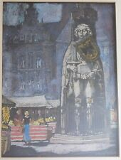 Painting by Fritz Rohrs German Bremen Statue of Roland Pastel Original Frame