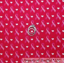 BonEful FABRIC Cotton Quilt Pink White Heart Breast Cancer Ribbon Stripe L SCRAP