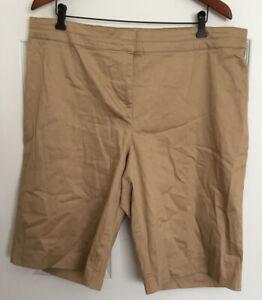 womens basic editions 20w khaki shorts long bermuda chino