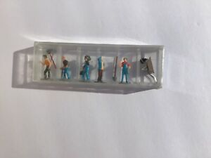 HO gauge set of five plastic workmen with tools. Possibly hand painted.