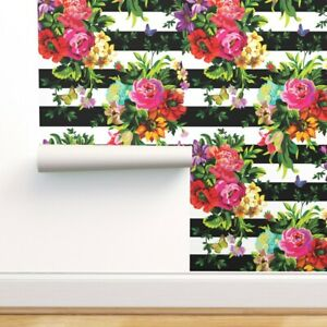 Removable Water-Activated Wallpaper Black And White Bohemain Floral Striped