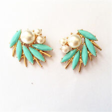 Spiral Pink Pearl Turquoise Blue Nn5 earrings Clip On Studs Big Golden