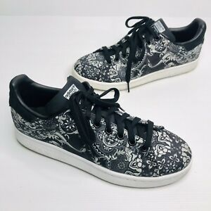 ADIDAS Size US 8 Black White Floral Canvas 'Stan Smith' Sneakers Skate Shoes