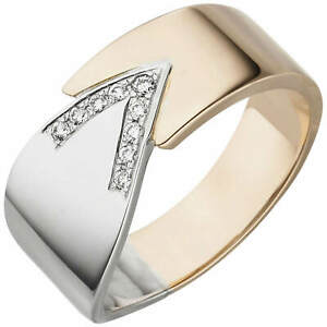 Ring Made From 585 White Gold Rose Gold Bicolour 9 Diamonds 0,1 CT