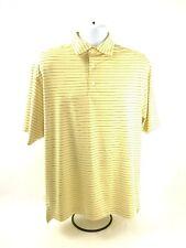 FootJoy Fj Men's Golf Polo Shirt Yellow Blue Striped Ss M Medium Poly & Spandex