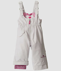 $120 Obermeyer Kid Girls White Hydroblock Insulated Gaiter Overalls Snow Pants 8