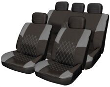 Deluxe Grey Leather Look Pad 11pc Car Seat Cover Set Split Rear Seat Head Rests