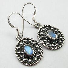VINTAGE STYLE ! 925 Pure Silver CUT RAINBOW MOONSTONE Tribal Earrings 3.2 CM NEW