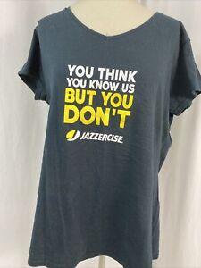 Gildan Soft Style Black V Neck Short Sleeve Jazzercise T Shirt Size 2XL