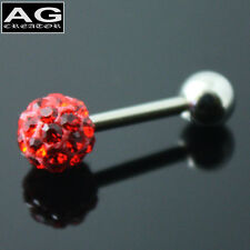 A single Red cubic snow ball barbell single earring stud piercing 18g US SELLER