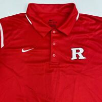 Nike Dri-Fit Rutgers Polo Shirt Men's 2XL XXL Short Sleeve Red 100% Polyester