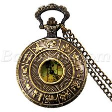 Antique Copper Hollow Map Twelve Constellation Quartz Pocket Watch Sweater Chain