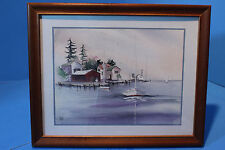 """Beautiful Watercolor Painting by Madden, """"Boats in Harbor"""" Artwork Reproduction"""