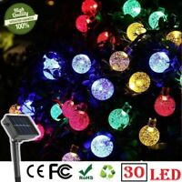 Outdoor Waterproof Solar Powered String LED Bulb Lights Garden Winter Summer UK