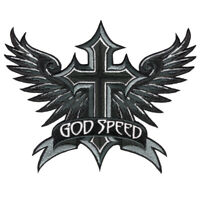 VEGASBEE® GODSPEED WINGS CROSS WINGED CHRISTIAN RIDER EMBROIDERED IRON-ON PATCH