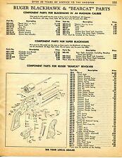 1962 Print Ad of Ruger Bearcat & .44 Blackhawk Revolver Parts List