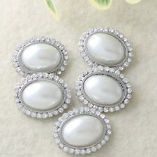 5 Pcs Silver Rhinestone Faux Pearl Button Embellishment DIY Craft Sewing Buttons