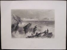 Antique Print KILKEE Clare Atlantic Coast Ireland Engraving 1840s WH Bartlett