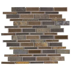 Classic Linear Brown Grey Porcelain Stone Mosaic Tile Backsplash Wall MTO0236