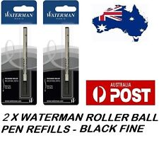 2 X WATERMAN ROLLER BALLPEN BALL POINT PEN REFILL REFILLS FINE BLACK NEW