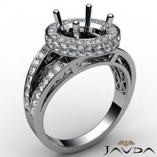 Round Cut Semi Mount 14k White Gold 0.76Ct Diamond Engagement Halo Pave Set Ring
