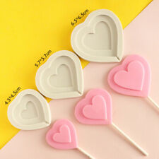 3X Heart Silicone Fondant Cake Mold Chocolate Lollipop Lolly Candy Baking Mould