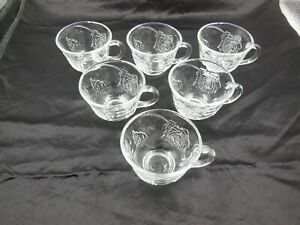 6 NICE INDIANA GLASS CELEBRATION PUNCH / COFFEE / TEA CUPS / PROMPT SAFE SHIP