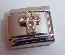 CROSS w/ CLEAR GEMS 9mm Italian Charm fits Classic Bracelets Faith Love Hope
