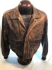Mens VINTAGE U2 Wear Me Out Sz.40 Brown Leather Flight Jacket