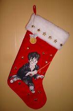 "Harry Potter & Wand Christmas Holiday Stocking 2000 Red Velvet & Stars Large 18"""