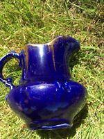 Antique Victorian Dark Cobalt Blue Glazed Pitcher Creamer Jug Ohio Ironstone