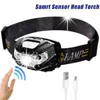 USB Sensor Head Light Torch Headlamp Headlight Lamp Rechargeable 60000lm Lumens