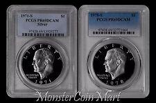 2-PIECE SET - 1971-S Silver and 1978-S Clad Eisenhower Dollars PCGS PR69DCAM