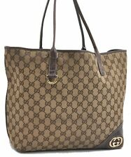 Authentic GUCCI GG Tote Hand Bag Canvas Leather Brown A6997