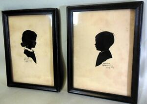 Pr ARTIST SIGNED Paper Silhouettes ART Louise Browning 1939  Boy Girl AMERICANA