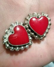 Vintage Sterling Taxco Red Heart Clip On Earrings