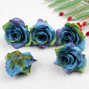 Fake Rose Artificial Silk Flower Heads Craft Wedding Decor 20-100X(Blue)