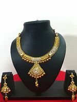 Indian Traditional Gold Plated Bollywood Kundan Fashion Jewelry Necklace Set