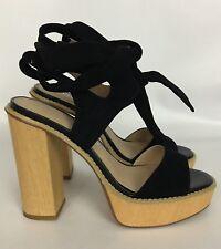Very Volatile Black Suede Platform High Heels Shoes Ankle Tie Strap Size 7 NWOB