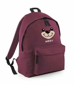 Bear face embroidered kids small fashion backpack - Personalised with Name