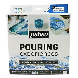 Pebeo Pouring Experiences Acrylic Paint, Silicone Oil & Canvas Discovery Kit Set