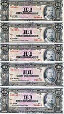 LOT Bolivia, 5 x 100 Bolivares, 1945, P-147, UNC