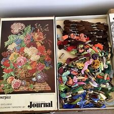 Wonderful Vintage July 1968 Unfinished Floral Tapestry Boxed And Complete