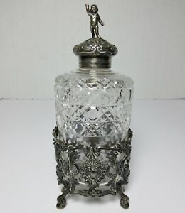 """LARGE STERLING SILVER & CUT GLASS BOTTLE & STAND FREDERICK BRASTED Antique 8""""H"""
