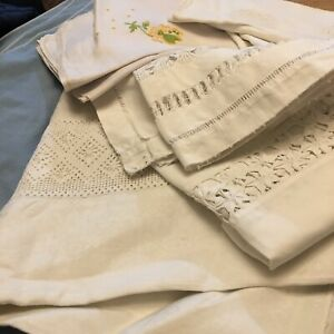 7 white vintage items craft work use Some damaged Cotton linen lace embroidery