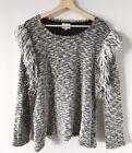 SEED HERITAGE Wool Alpaca Black White Marle Knit Sweater Shoulder Detail Size L